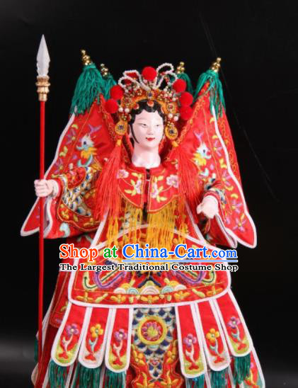 Traditional Chinese Handmade Female General Puppet Marionette Puppets String Puppet Wooden Image Arts Collectibles