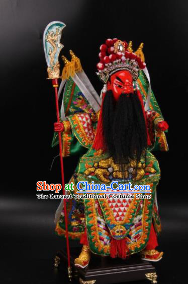 Traditional Chinese Handmade Green General Guan Yu Puppet Marionette Puppets String Puppet Wooden Image Arts Collectibles