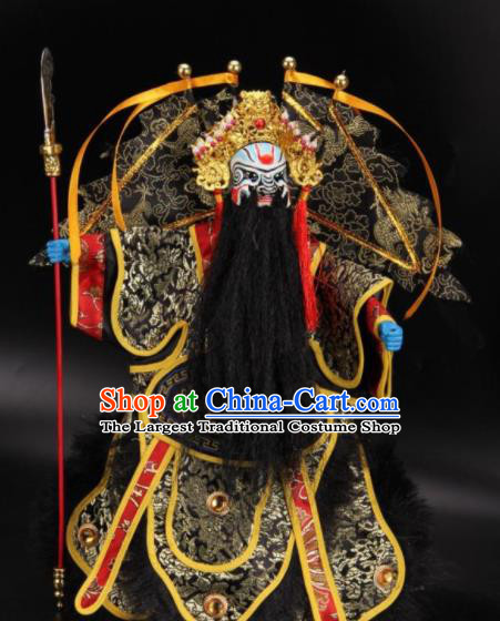 Traditional Chinese Handmade Black General Puppet Marionette Puppets String Puppet Wooden Image Arts Collectibles