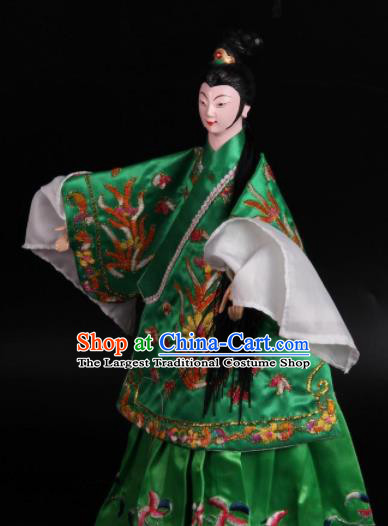 Traditional Chinese Green Dress Diva Puppet Marionette Puppets String Puppet Wooden Image Arts Collectibles