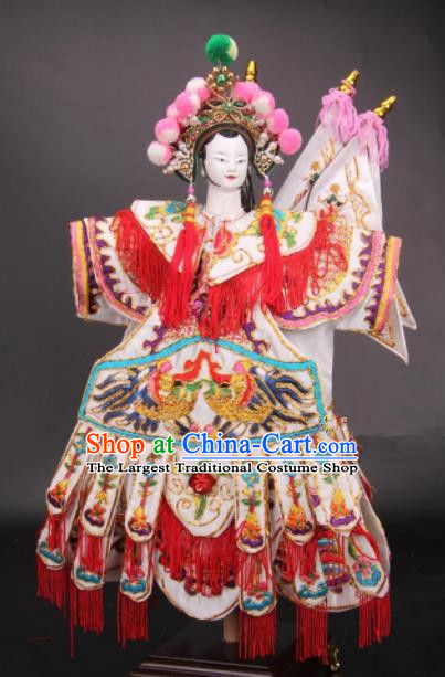 Traditional Chinese General Mu Guiying Marionette Puppets Handmade Puppet String Puppet Wooden Image Arts Collectibles
