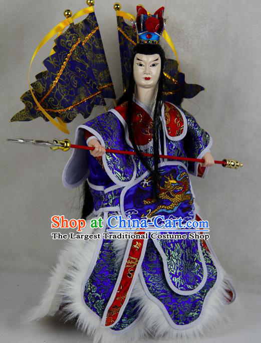 Chinese Traditional Blue General Lv Bu Marionette Puppets Handmade Puppet String Puppet Wooden Image Arts Collectibles