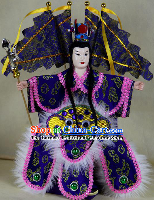 Chinese Traditional Royalblue General Lv Bu Marionette Puppets Handmade Puppet String Puppet Wooden Image Arts Collectibles