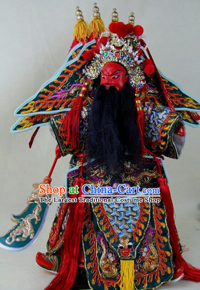 Chinese Traditional General Guan Yu Marionette Puppets Handmade Puppet String Puppet Wooden Image Arts Collectibles