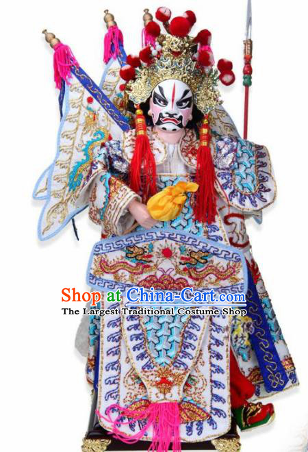 Traditional Chinese White General Guan Ping Marionette Puppets Handmade Puppet String Puppet Wooden Image Arts Collectibles