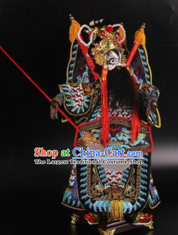 Traditional Chinese Black General Xiang Yu Marionette Puppets Handmade Puppet String Puppet Wooden Image Arts Collectibles