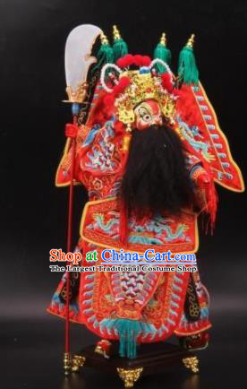 Traditional Chinese Red General Marionette Puppets Handmade Puppet String Puppet Wooden Image Arts Collectibles