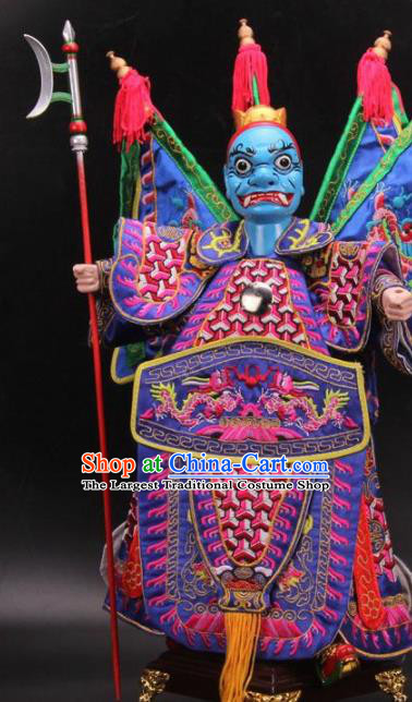 Traditional Chinese Purple General Marionette Puppets Handmade Puppet String Puppet Wooden Image Arts Collectibles