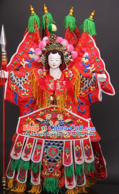 Traditional Chinese Red General Mu Guiying Marionette Puppets Handmade Puppet String Puppet Wooden Image Arts Collectibles