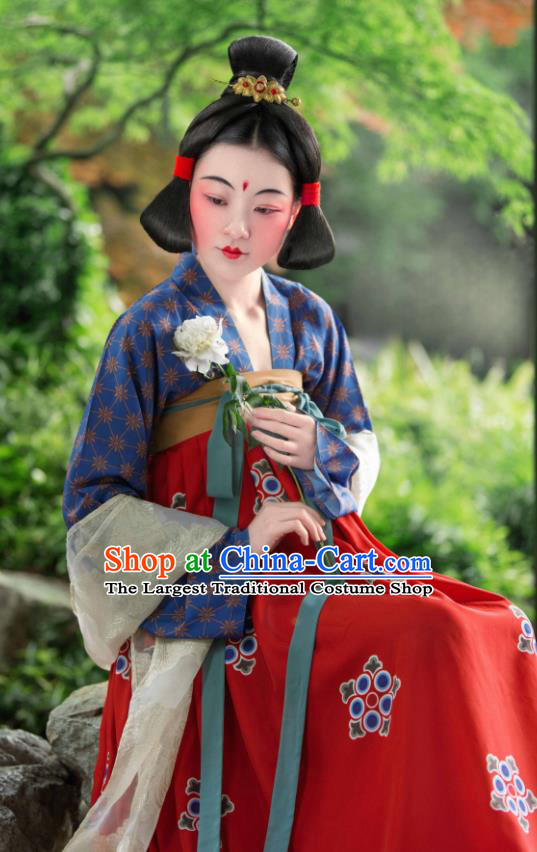 Chinese Traditional Tang Dynasty Court Lady Hanfu Dress Ancient Las Meninas Replica Costumes for Women