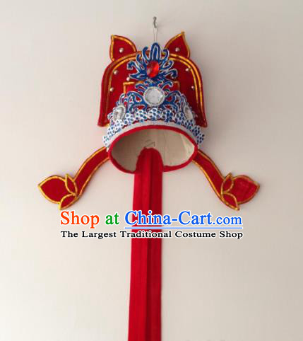 Traditional Chinese Beijing Opera Niche Red Hat Ancient Number One Scholar Headwear for Men