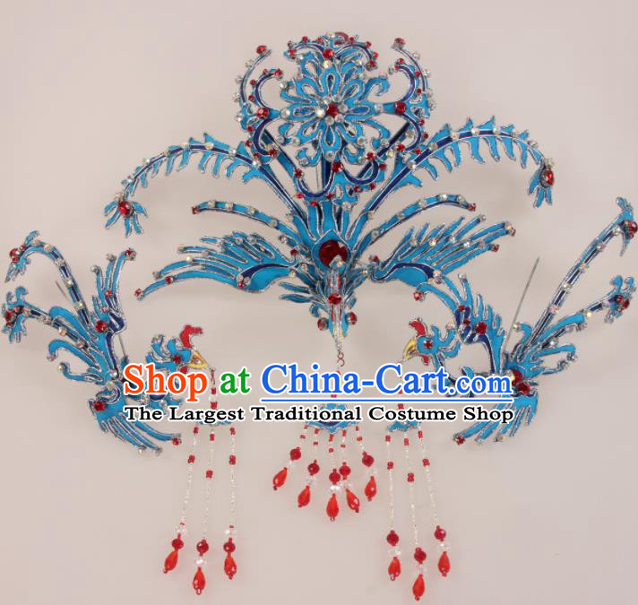 Traditional Chinese Beijing Opera Diva Hair Accessories Blue Phoenix Hairpins Ancient Court Princess Headwear for Women