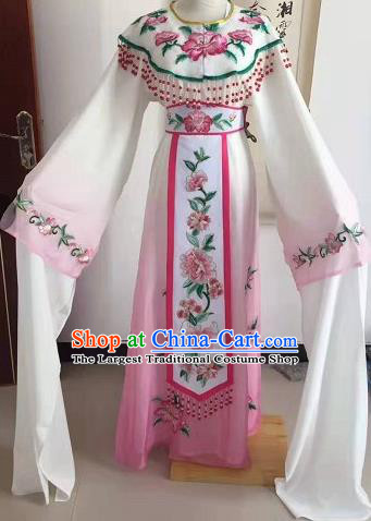 Handmade Traditional Chinese Beijing Opera Princess Pink Clothing Ancient Court Lady Costumes for Women