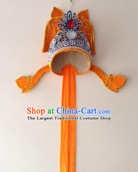 Traditional Chinese Beijing Opera Niche Orange Hat Ancient Number One Scholar Headwear for Men