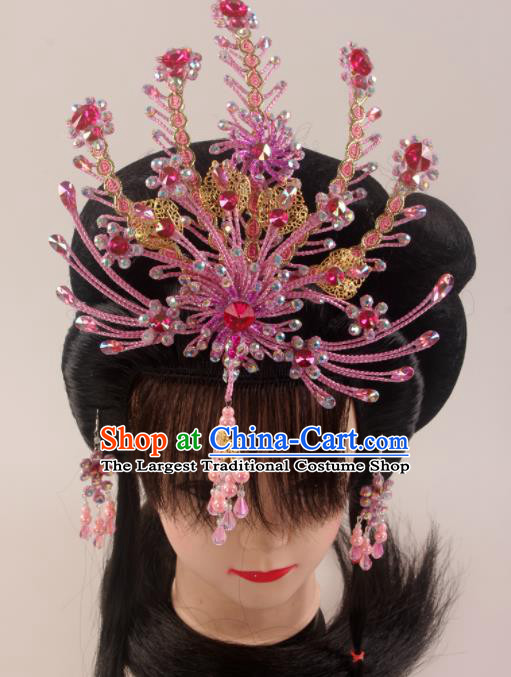 Traditional Chinese Beijing Opera Diva Pink Phoenix Hairpins Hair Accessories Ancient Court Princess Headwear for Women