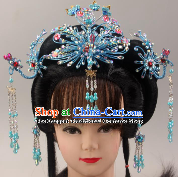 Traditional Chinese Beijing Opera Queen Blue Phoenix Hairpins Hair Accessories Ancient Court Princess Headwear for Women