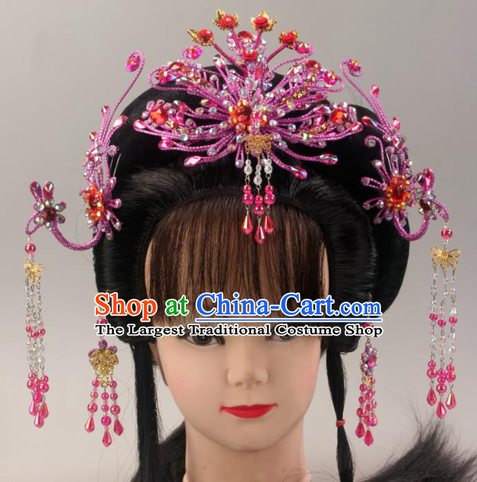 Traditional Chinese Beijing Opera Queen Purple Phoenix Hairpins Hair Accessories Ancient Court Princess Headwear for Women