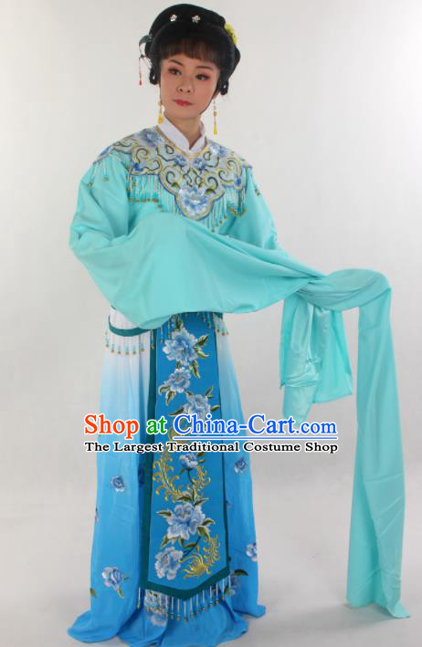 Handmade Traditional Chinese Beijing Opera Hua Tan Diva Blue Dress Ancient Imperial Consort Costumes for Women
