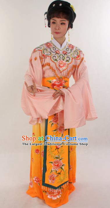 Handmade Traditional Chinese Beijing Opera Hua Tan Diva Yellow Dress Ancient Imperial Consort Costumes for Women