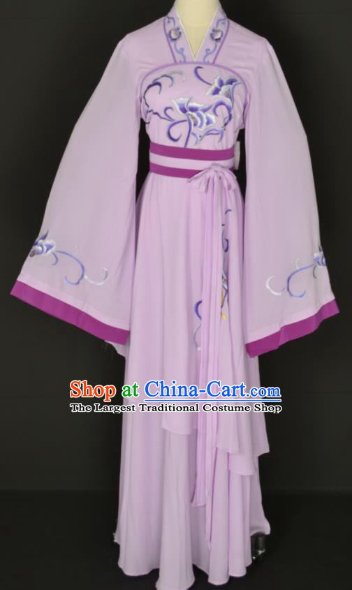 Handmade Traditional Chinese Beijing Opera Hua Tan Lilac Dress Ancient Court Maid Costumes for Women