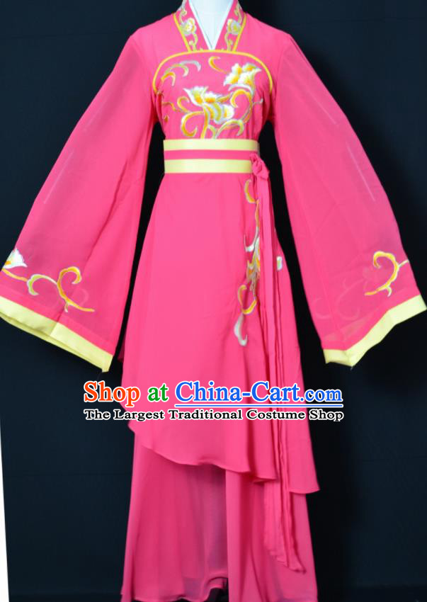 Handmade Traditional Chinese Beijing Opera Hua Tan Rosy Dress Ancient Court Maid Costumes for Women