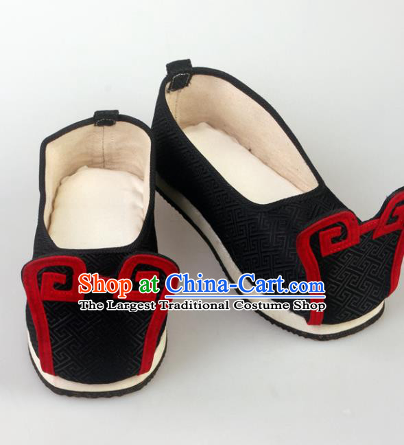 Traditional Chinese Beijing Opera Shoes Handmade Ancient Han Dynasty Wedding Black Hanfu Shoes for Men