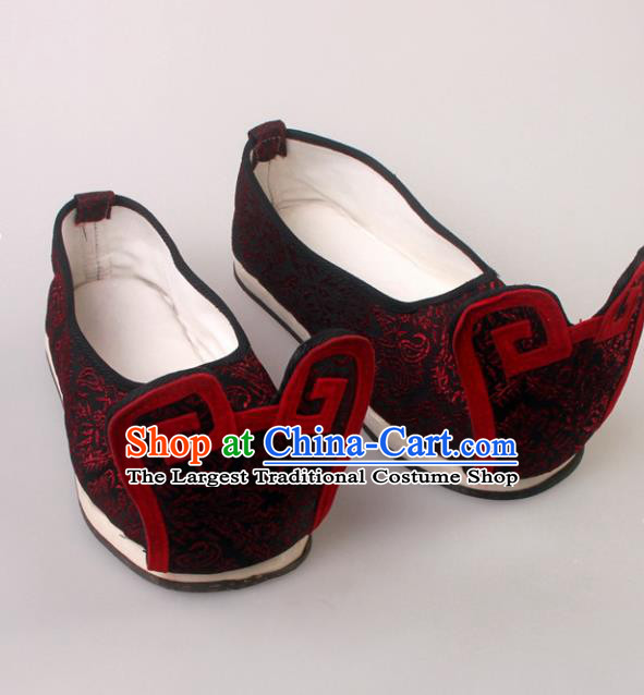 Traditional Chinese Beijing Opera Shoes Handmade Ancient Han Dynasty Wedding Embroidered Hanfu Shoes for Men