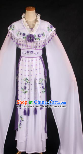 Handmade Traditional Chinese Beijing Opera Princess White Dress Ancient Court Lady Costumes for Women