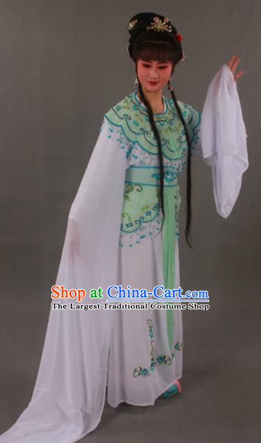 Handmade Traditional Chinese Beijing Opera Peri Green Dress Ancient Nobility Lady Costumes for Women