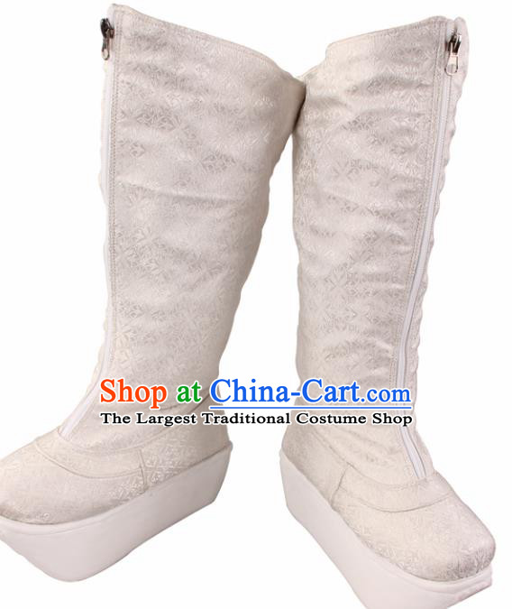 Traditional Chinese Beijing Opera Takefu White Boots Handmade Ancient Swordsman Shoes for Men