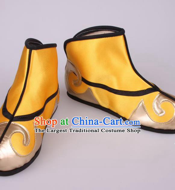 Traditional Chinese Beijing Opera Takefu Yellow Boots Handmade Ancient Swordsman Shoes for Men