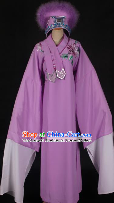 Traditional Chinese Huangmei Opera Niche Purple Robe Ancient Madam White Snake Xu Xian Costume for Men