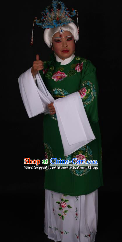 Traditional Chinese Peking Opera Stand By Green Dress Ancient Dowager Countess Costume for Women