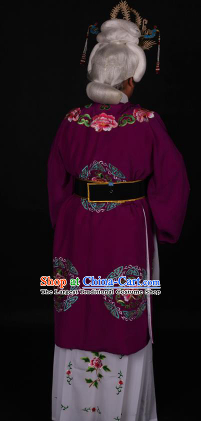 Traditional Chinese Peking Opera Stand By Purple Dress Ancient Dowager Countess Costume for Women