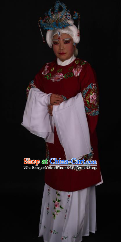 Traditional Chinese Peking Opera Stand By Amaranth Dress Ancient Dowager Countess Costume for Women