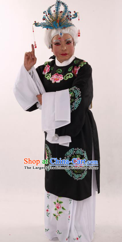 Traditional Chinese Peking Opera Stand By Black Dress Ancient Dowager Countess Costume for Women