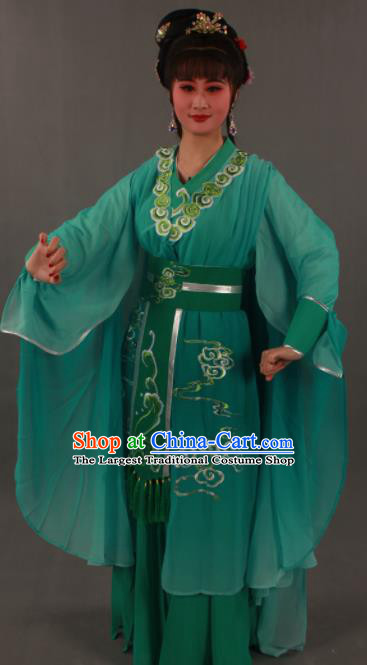 Traditional Chinese Peking Opera Actress Green Dress Ancient Madam White Snake Xiao Qing Costumes for Women