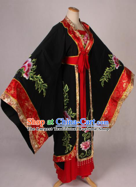 Traditional Chinese Shaoxing Opera Queen Embroidered Black Dress Ancient Peking Opera Diva Costume for Women