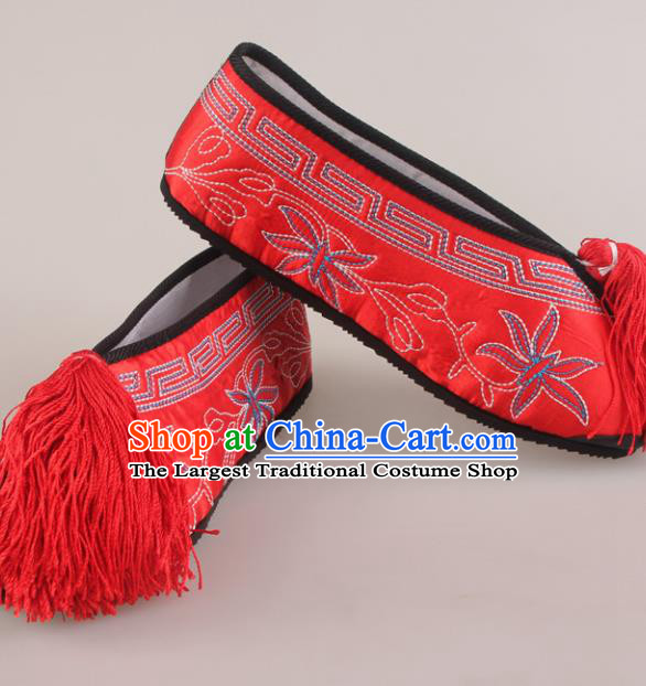 Traditional Chinese Beijing Opera Diva Red Embroidered Shoes Handmade Ancient Princess Blood Stained Shoes for Women