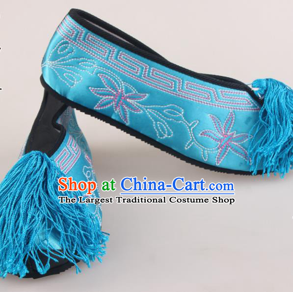 Traditional Chinese Beijing Opera Diva Blue Embroidered Shoes Handmade Ancient Princess Blood Stained Shoes for Women