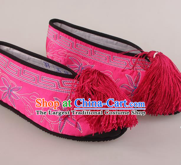 Traditional Chinese Beijing Opera Diva Rosy Embroidered Shoes Handmade Ancient Princess Blood Stained Shoes for Women