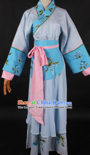 Chinese Traditional Shaoxing Opera Maidservant Blue Dress Ancient Peking Opera Servant Girl Costume for Women