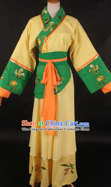 Chinese Traditional Shaoxing Opera Maidservant Yellow Dress Ancient Peking Opera Servant Girl Costume for Women
