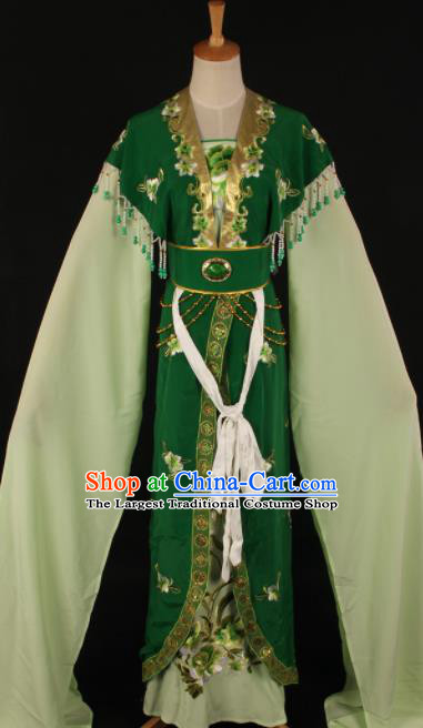 Chinese Traditional Shaoxing Opera Countess Green Dress Ancient Peking Opera Actress Costume for Women