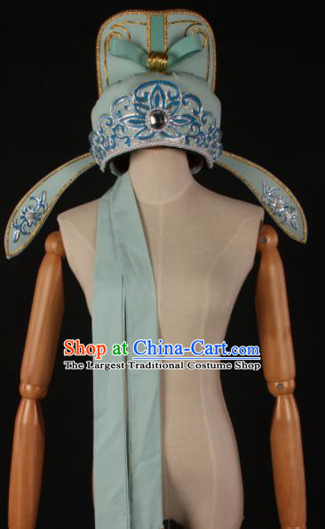 Traditional Chinese Shaoxing Opera Niche Blue Hat Ancient Childe Scholar Headwear for Men