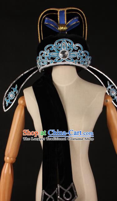 Traditional Chinese Shaoxing Opera Niche Black Hat Ancient Childe Scholar Headwear for Men