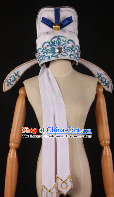 Traditional Chinese Shaoxing Opera Niche White Hat Ancient Childe Scholar Headwear for Men