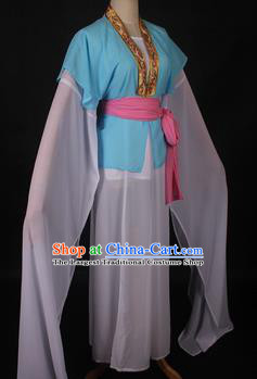 Traditional Chinese Shaoxing Opera Maidservants Light Blue Dress Ancient Peking Opera Village Girl Costume for Women