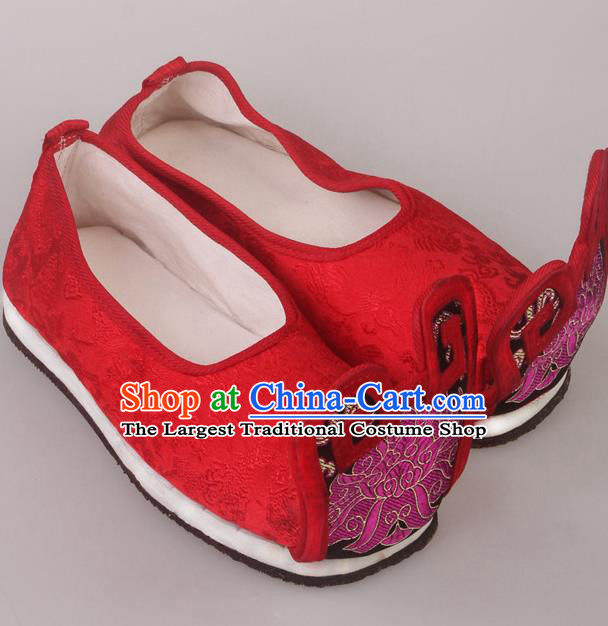 Traditional Chinese Beijing Opera Diva Wedding Embroidered Shoes Handmade Ancient Princess Blood Stained Shoes for Women