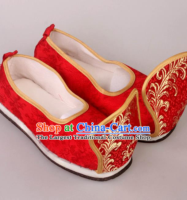 Traditional Chinese Beijing Opera Diva Wedding Red Shoes Handmade Ancient Princess Blood Stained Shoes for Women